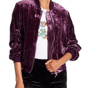 Rebecca Minkoff Purple Kaya velvet bomber jacket